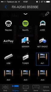 Die Eingangswahl in der Yamaha AV Controller App. Schnell verschiedene Eingänge wählen. Natürlich mit am Board die wichtigsten Musikdienste: Spotify, Napster und Juke.