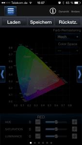 Farbeinstellungen für den TV sind über die App sehr genau möglich.