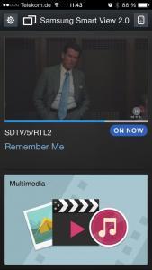 Eins der Highlights der App. Wir können unser Live Bild vom TV abgreifen und per Smartphone oder auch Tablet weiter gucken.