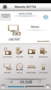 Quellauswahl: Blu-Ray, CBL/SAT und Media Player. Einfach anklicken und Verstärker ändert das Eingangssignal.
