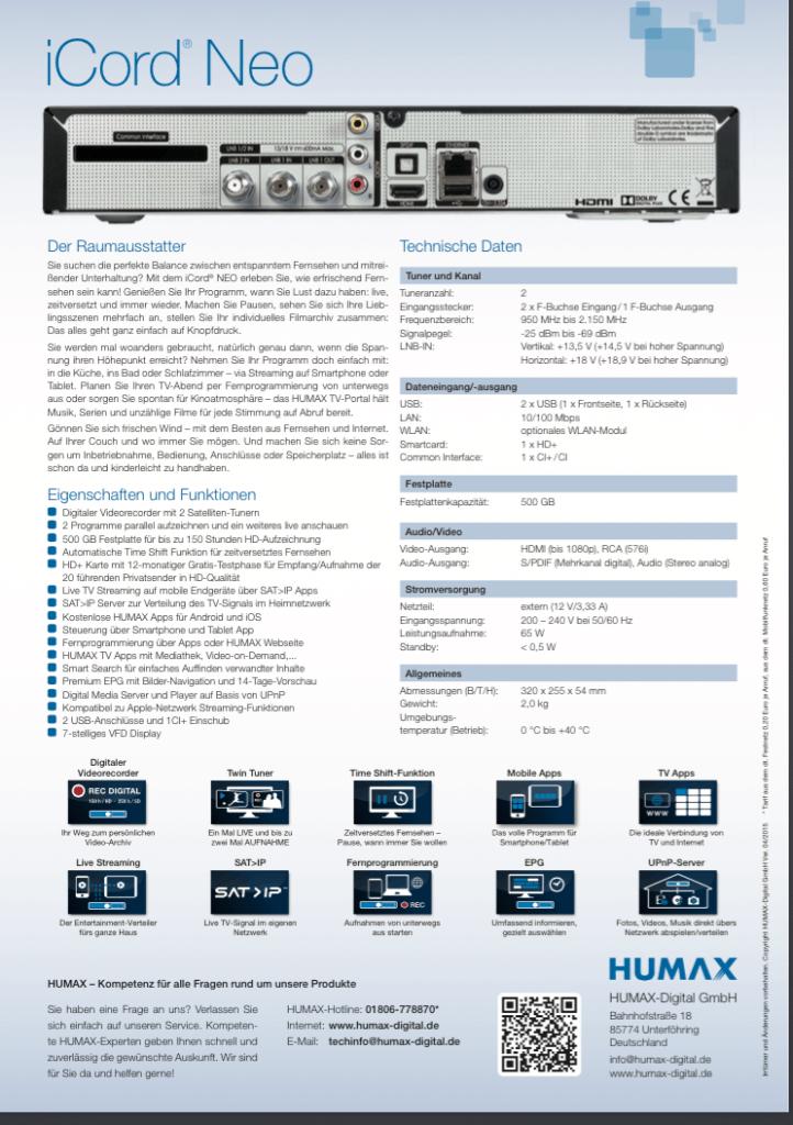 Humax iCord Neo Datenblatt
