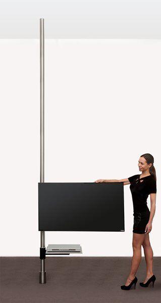 Eine Edelstahl-Säule um den TV schwenkbar zu montieren mit unsichtbarer Kabelführung. Der Fernseher kann entweder um die Säule gedreht werden (1 Achse, bis 50 kg) oder mit Auslegearm um die Säule geschwenkt werden (2 Achsen, bis 32 kg)