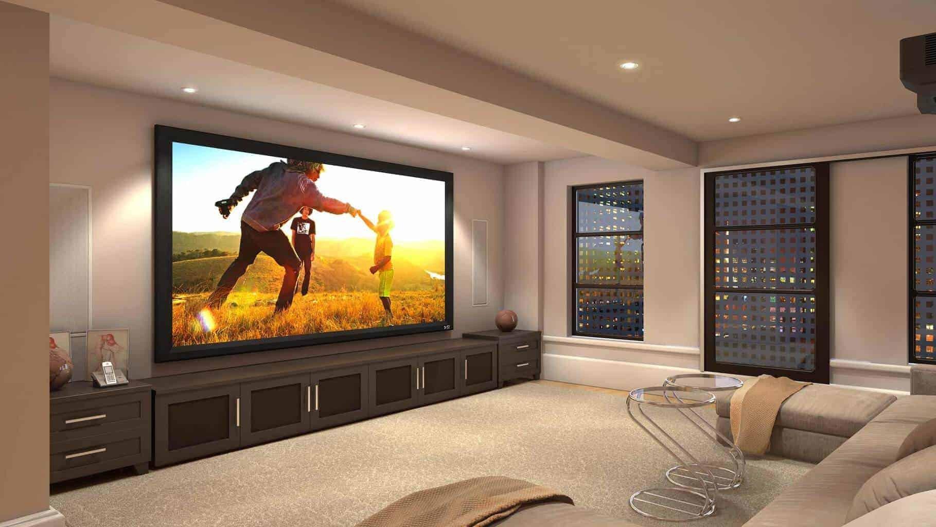 Screen innovations fixed black diamond heimkinopartner for Hiding a projector in living room