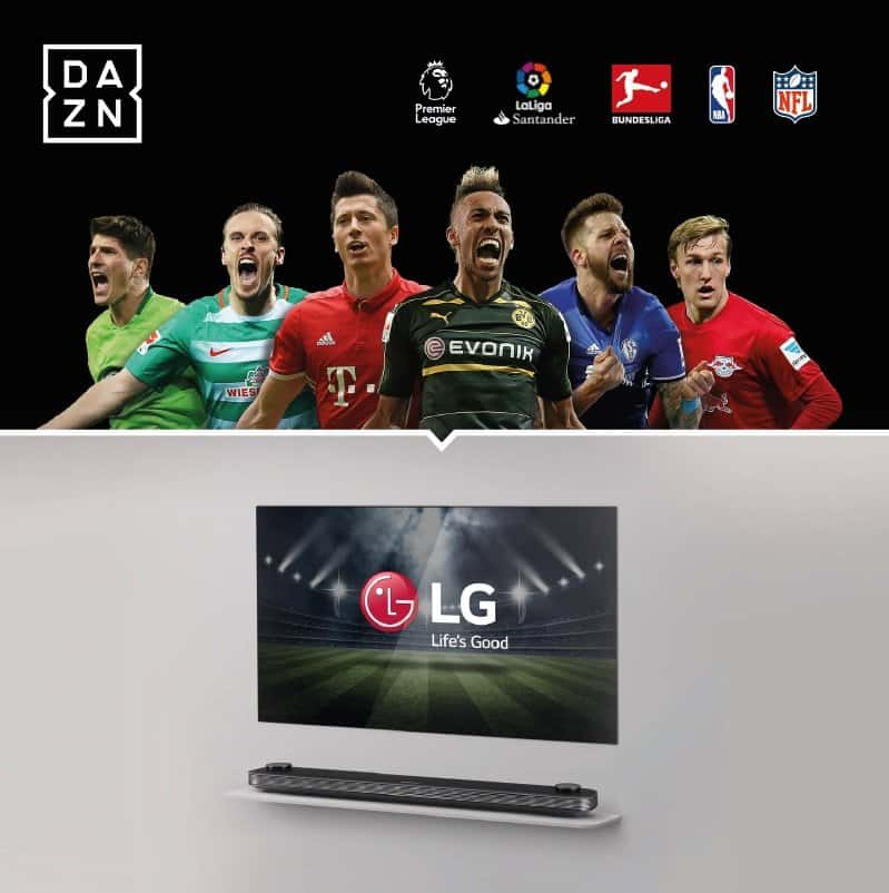 ein jahr dazn sport streaming f r k ufer von lg premium tvs heimkinopartner. Black Bedroom Furniture Sets. Home Design Ideas