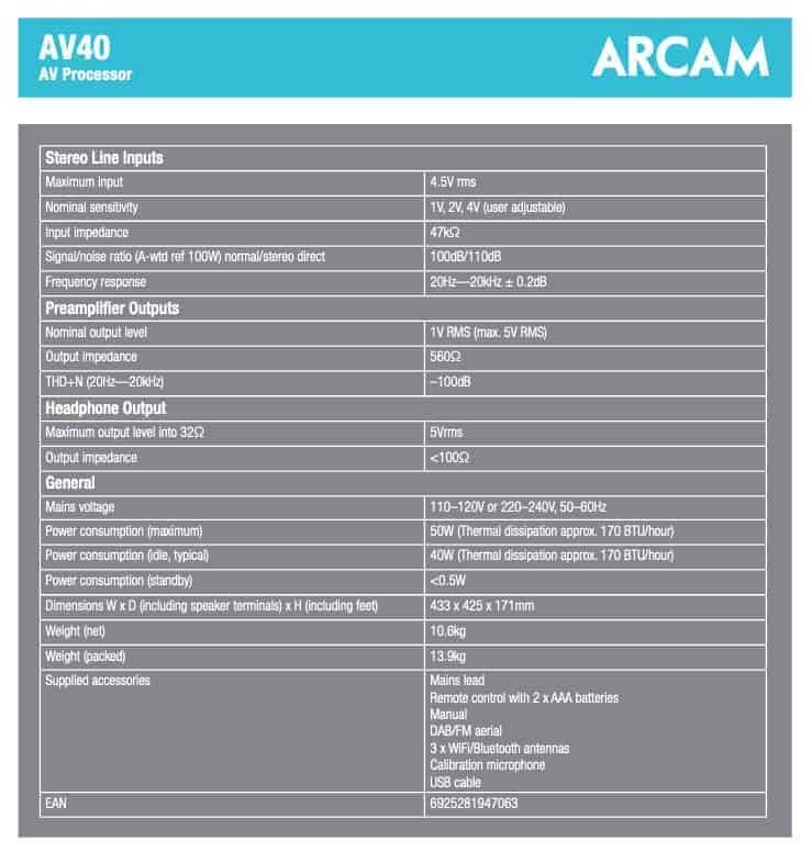 Arcam AV40 AV-Prozessor Datenblatt