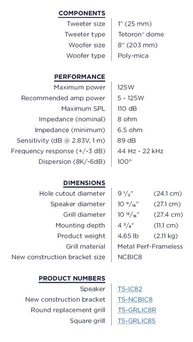 Triad TS-IC82 Einbaulautsprecher Offen