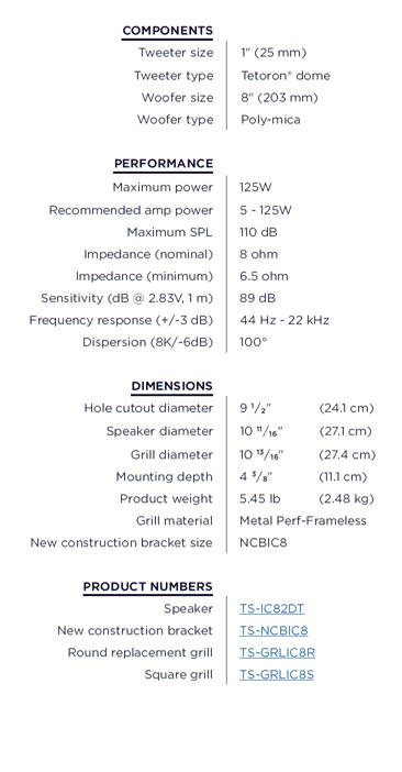 Triad TS-IC82DT Stereo Einbaulautsprecher